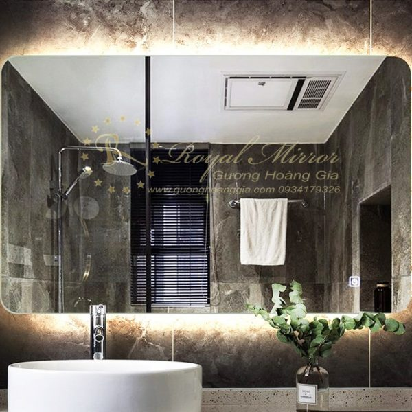 Gương Nhà Tắm Chống Mờ tự động với Sấy gương, đèn LED hắt chống chói cảm ứng 1 chạm
