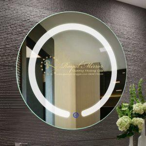 Gương nhà tắm Tròn, Sấy gương chống mờ, LED Viền Sáng