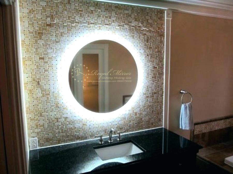Gương tròn nhà tắm cao cấp tích hợp đèn LED hắt & Sấy gương chống mờ hơi nước