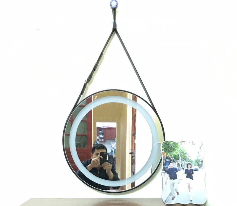 Gương bàn trang điểm tròn dây da chuyên dụng
