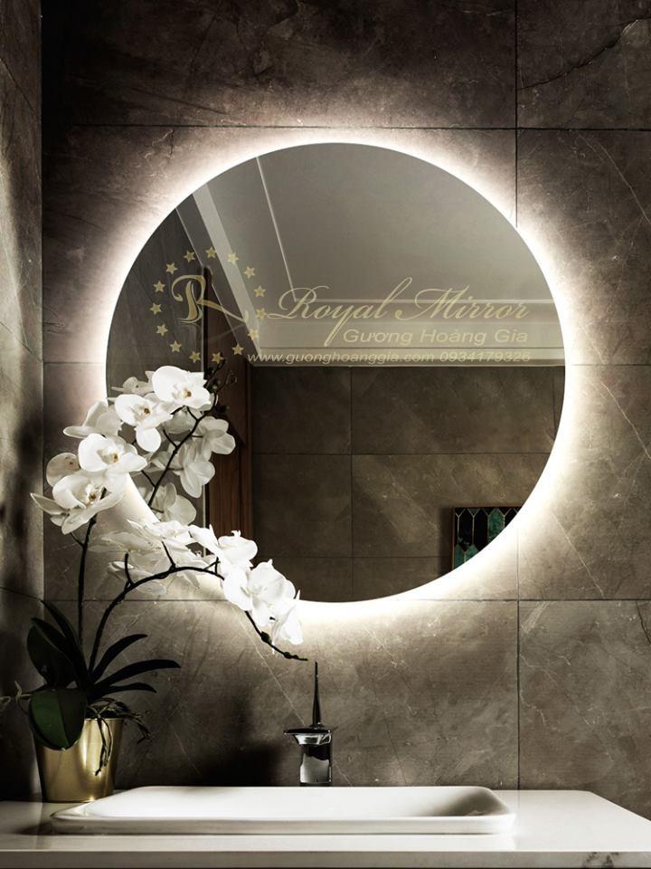 Gương nhà tắm tròn đèn LED, Chống ấm, Sấy gương chống mờ
