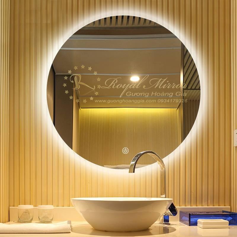 Gương tròn nhà tắm, đèn LED trắng ấm, sấy gương chống mờ