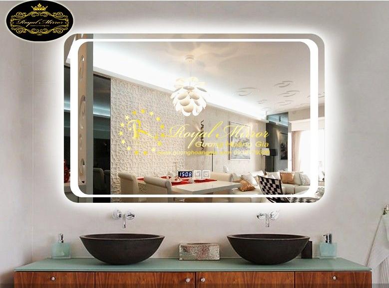 Gương LED trang trí Hoàng Gia cao cấp hiển thị giờ, nhiệt độ thông minh