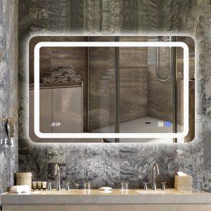 Gương Đèn LED cảm ứng , phá sương 2 nút kết hợp màn hình đo hiển thị giờ, nhiệt độ môi trường