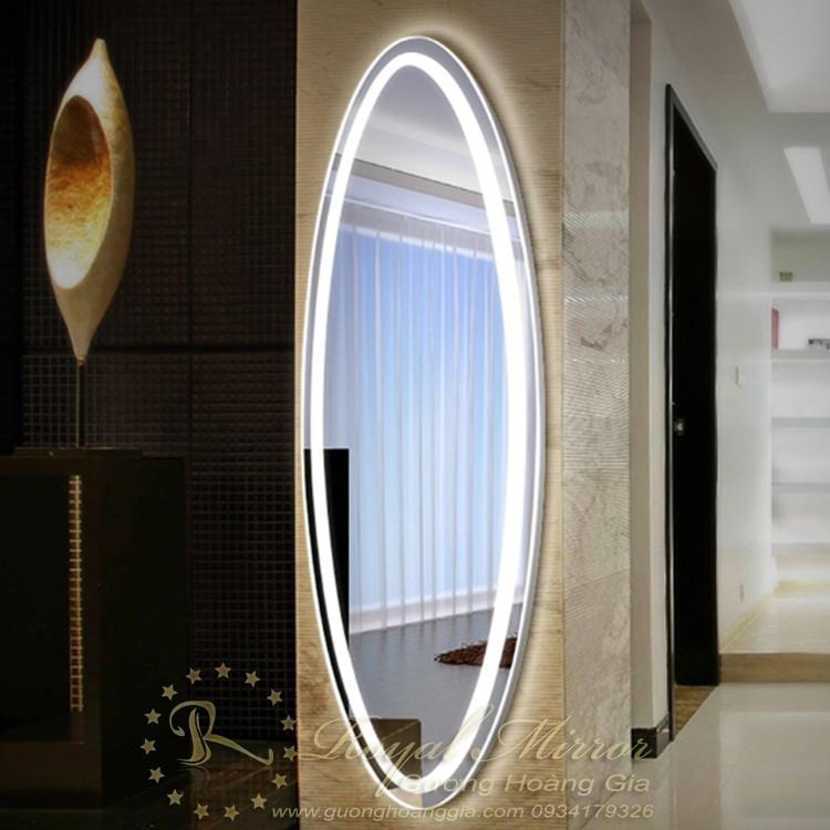 Gương phòng khách đèn LED. Mã RE3-155 ECO. Thiết kế ELIP KT: 150*50cm