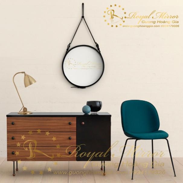 Gương tròn dây da decor trang trí phòng khách