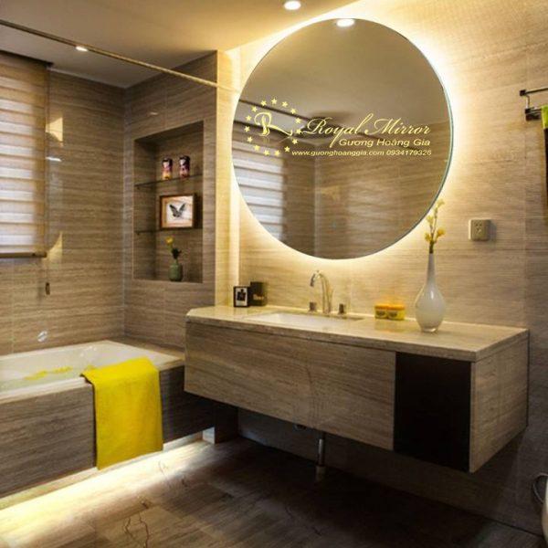 Gương LED tròn gương Bỉ cao cấp chống ố mốc, đèn LED sáng đẹp, giá rẻ nhất Hà Nội
