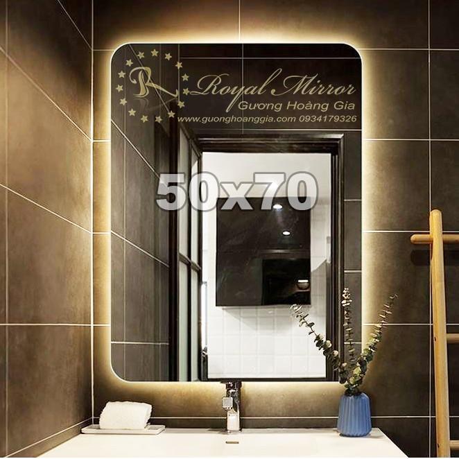 Gương LED hắt giá rẻ Hình chữ nhật đứng kt 50x70cm CND572 ánh sáng Vàng