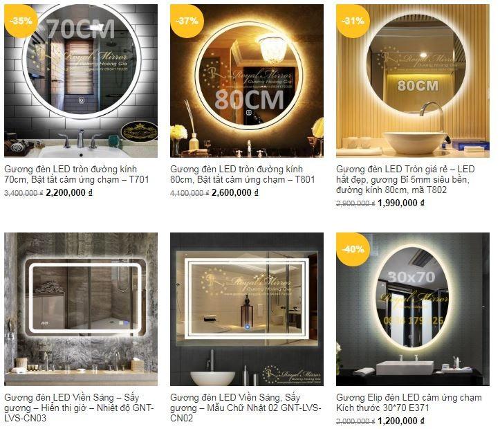 Báo giá gương LED phòng tắm Hoàng Gia