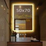 Gương đèn LED cảm ứng chữ nhật đứng kt 5070 đèn LED sáng VàngGương đèn LED cảm ứng chữ nhật đứng kt 5070 đèn LED sáng Vàng