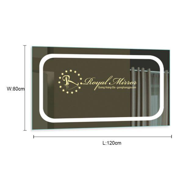 Gương nhà tắm đèn LED khổ lớn sang trọng đẳng cấp kt 120 x 80cm