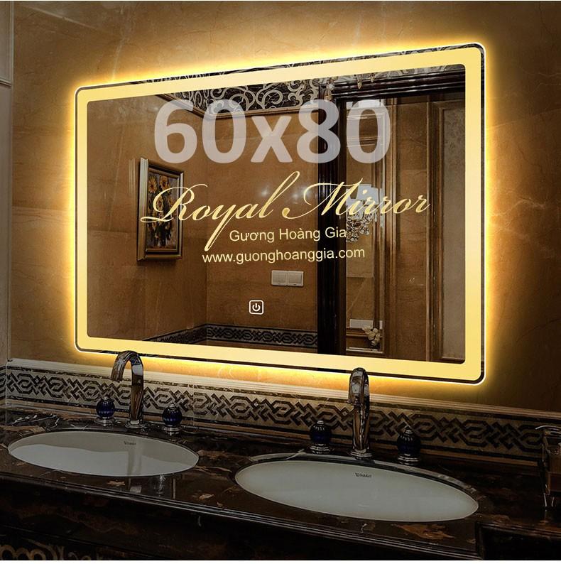 Gương đèn LED có cảm ứng chạm hình chữ nhật ngang kt 60*80cm - Sáng Vàng