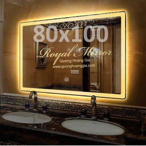 Gương đèn LED cảm ứng chạm cỡ lớn hình chữ nhật ngang kt 80*100cm - Sáng Vàng