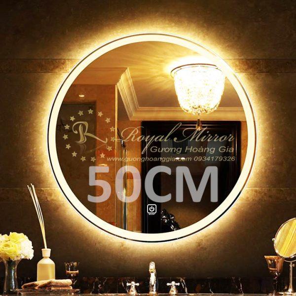 Gương đèn LED tròn 50cm cảm ứng chạm bật tắt đèn
