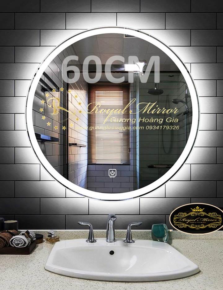 Gương đèn LED tròn đường kính 60CM bật tắt cảm ứng chạm - sáng trắng