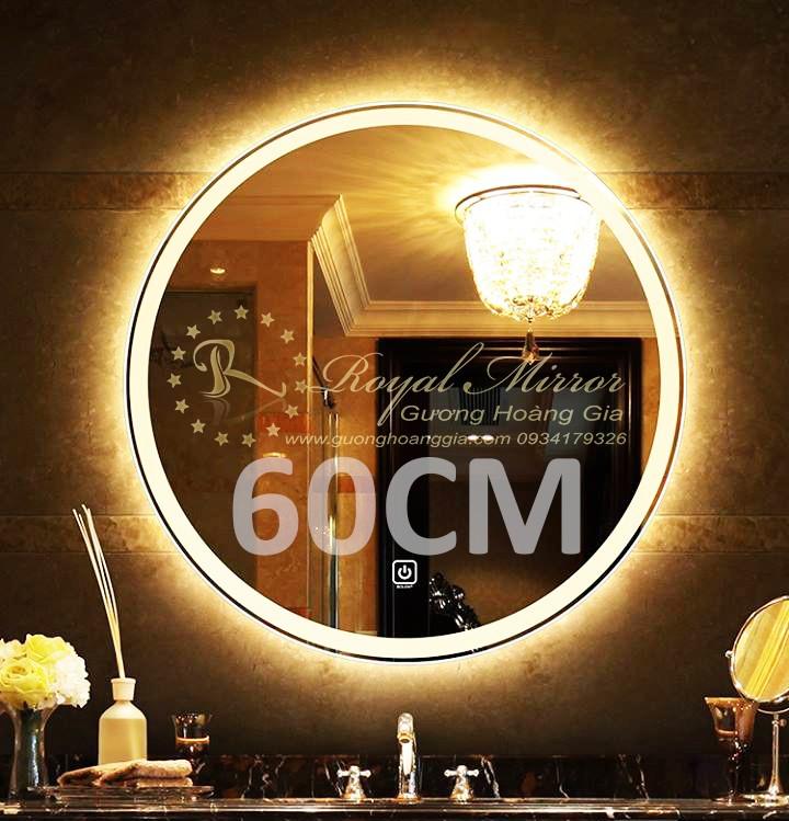Gương đèn LED tròn đường kính 60CM bật tắt cảm ứng chạm - sáng vàng
