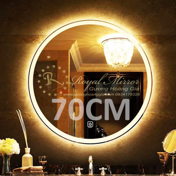 Gương LED tròn D70 đường kính 70cm, công tắc cảm ứng chạm