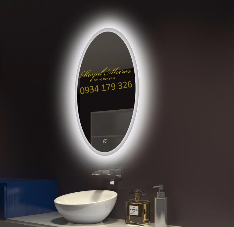 Gương Elip đèn LED cảm ứng cao cấp cho phòng tắm, bàn trang điểm, phòng khách, khách sạn, spa . . .