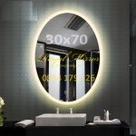 Gương Elip đèn LED cảm ứng chạm Kích thước 30*70 E371 đèn LED Vàng