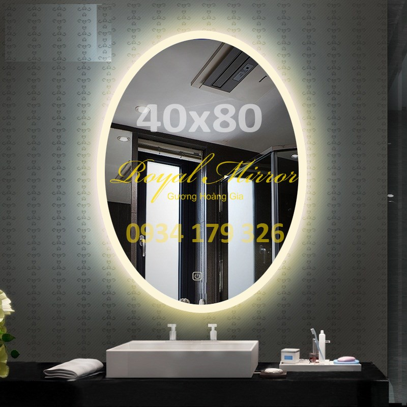 Gương Elip LED cảm ứng chạm Kích thước 40*80 E481 ánh sáng Vàng