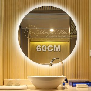 Gương LED Tròn giá đại lý - LED hắt đẹp, gương Bỉ 5mm siêu bền, đường kính 60cm, mã T602