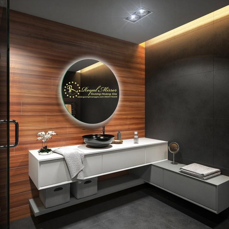 Gương LED tròn nhà tắm chống ố mốc, gương Bỉ 5mm cao cấp, LED hắt sáng
