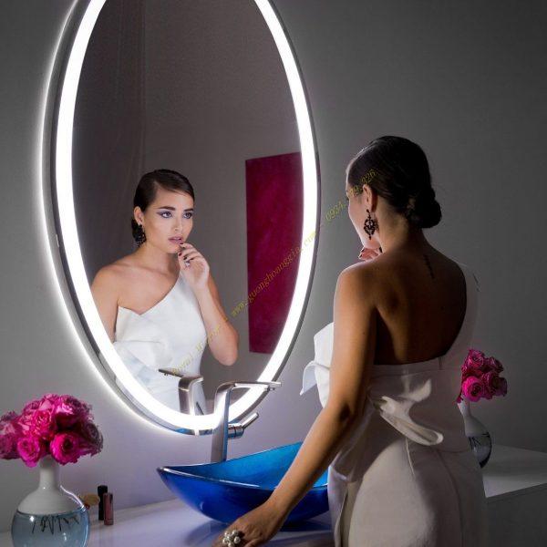 Gương đèn LED Elip khung viền Inox 60*100