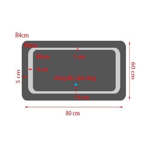SALE XẢ KHO - Gương nhà Tắm Đèn LED Cảm Cứng chạm- KT 60*80cm- mã HUD9-6080