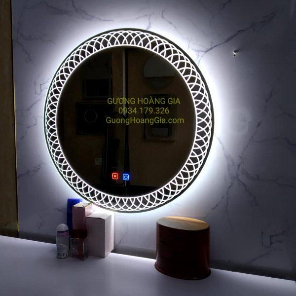 Gương LED tròn decor bàn phấn trang điểm