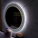 Gương LED tròn decor tích hơp cảm ứng chạm và sấy gương
