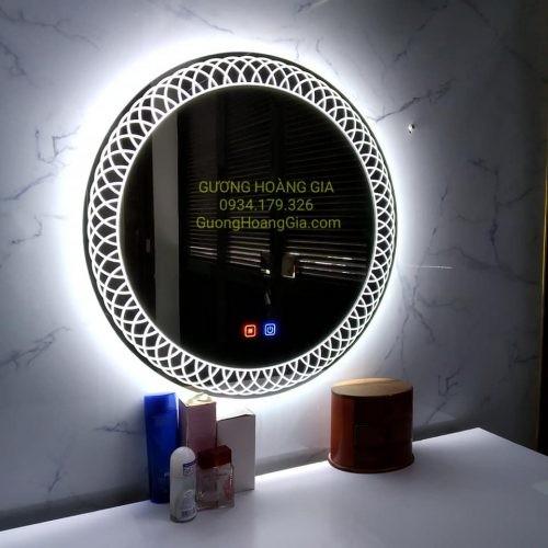 Gương LED tròn phòng tắm decor nghệ thuật