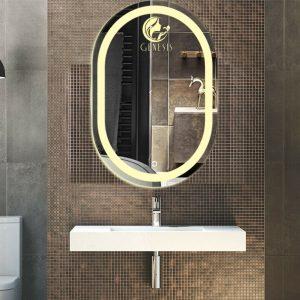 Gương Spa cao cấp khắc logo thương hiệu trên nền gương Bỉ siêu bền đep. Tích hợp đèn LED cảm ứng tiên nghi hiện đại