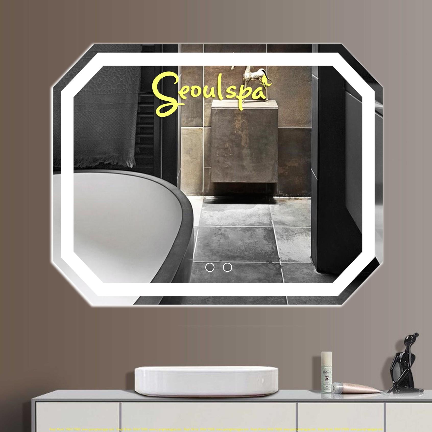 Gương Spa đèn LED cảm ứng cao cấp chế tác trên gương Bỉ cùng công nghệ phủ PVC sơn gia cường chống ố 200%
