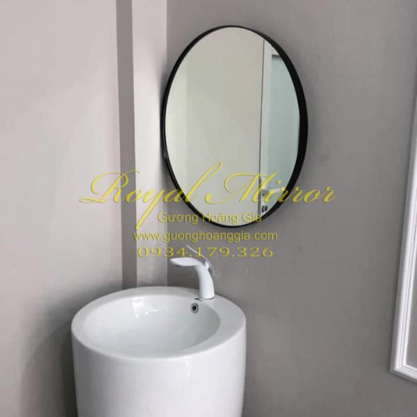 Gương lavabo decor viền nhôm sơn đen cao cấp
