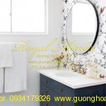 Gương nhà tắm tròn viền hợp kim đen