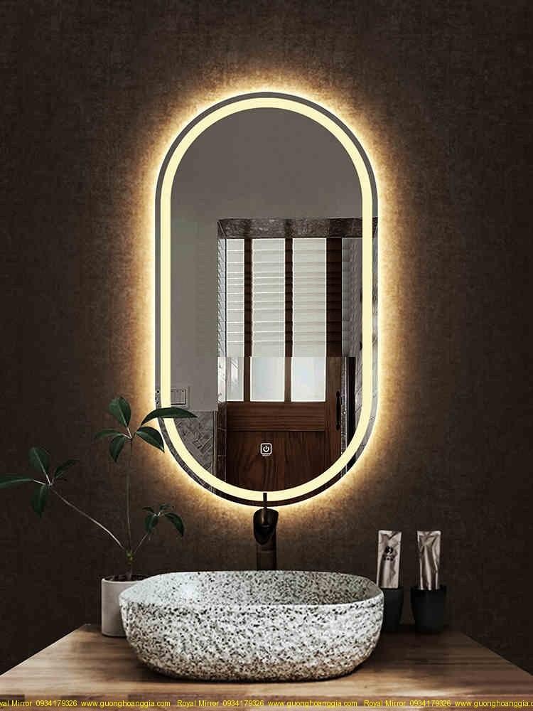 Gương trang trí OVAL đèn LED cảm ứng cao cấp