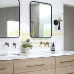 Gương lavabo đôi thép đen 60*80