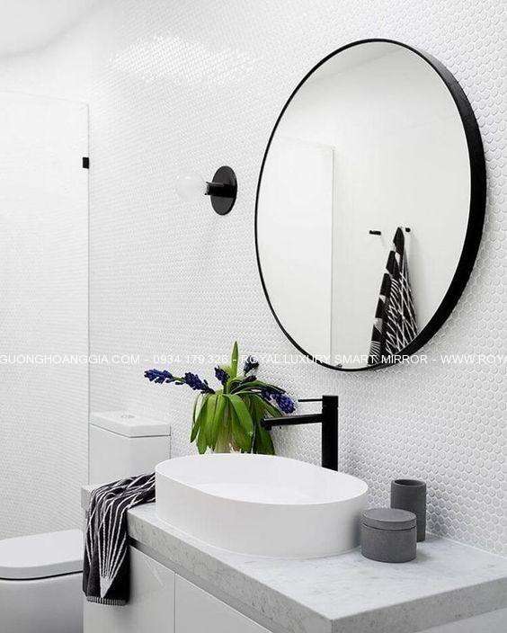 Gương khung thép tròn 60cm sơn tĩnh điện đen Hoàng Gia