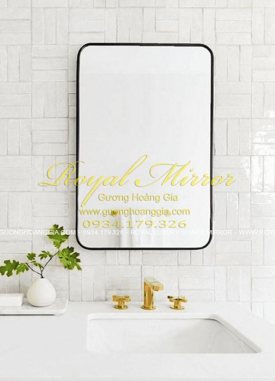 Gương phòng tắm khung thép sơn tĩnh điện đen 60*80cm